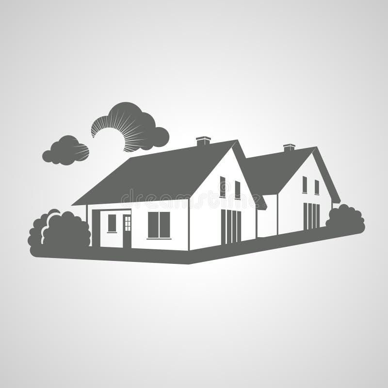 Símbolo del hogar, grupo de icono de las casas, silueta de los bienes raices, muestra de las propiedades inmobiliarias ilustración del vector