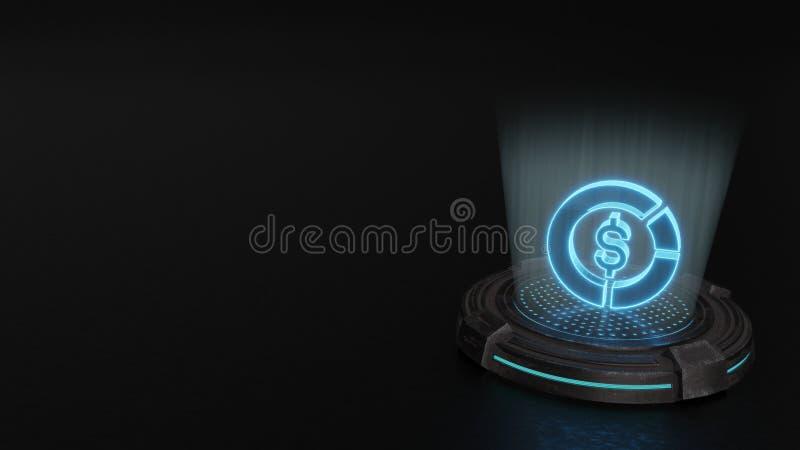 símbolo del holograma 3d del icono del diagrama 1 rendir ilustración del vector