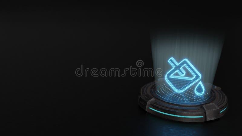 símbolo del holograma 3d del icono del goteo del terraplén rendir stock de ilustración