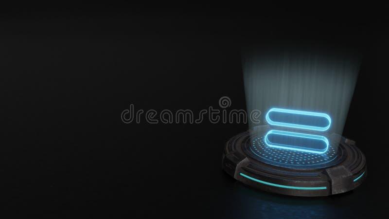 símbolo del holograma 3d del icono del igual 1 rendir fotos de archivo libres de regalías