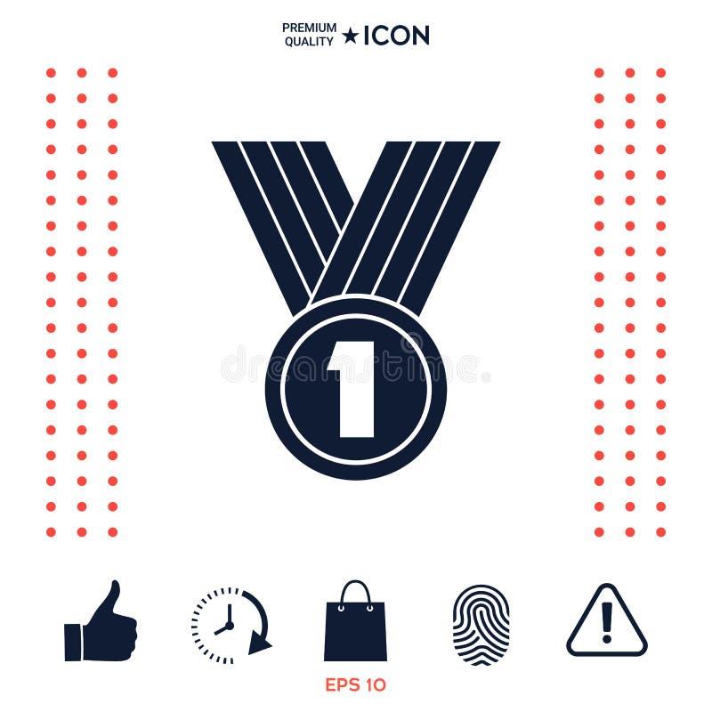 Símbolo del icono de la medalla stock de ilustración