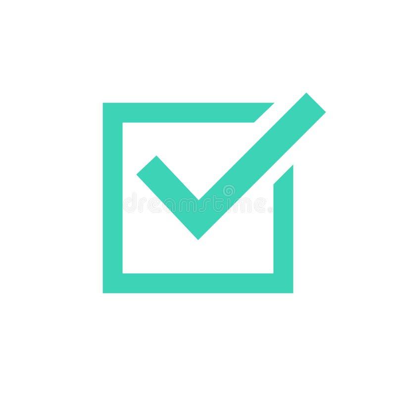 Símbolo del icono de la señal, marca de cotejo verde aislada en el fondo blanco, icono comprobado o muestra bien escogida correct ilustración del vector