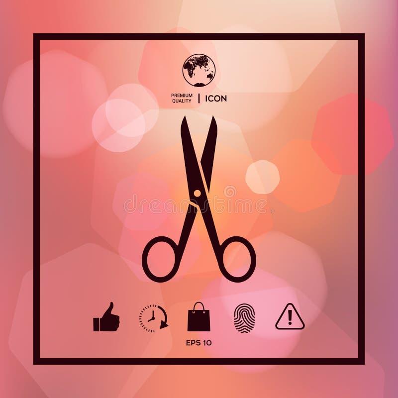 Símbolo del icono de las tijeras ilustración del vector