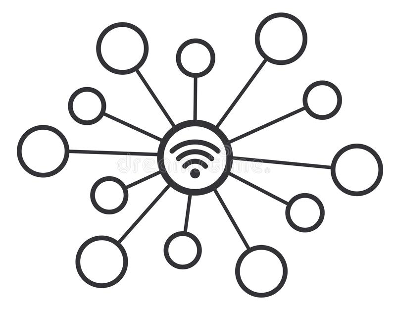 Símbolo del icono del vector del concepto de la red de la conexión inalámbrica de Wifi ilustración del vector
