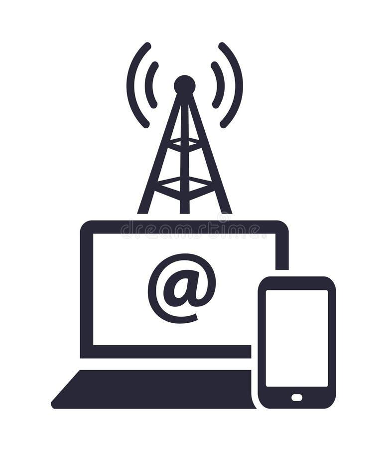 Símbolo del icono del vector de la conexión a internet del acceso del cuaderno y del smartphone libre illustration