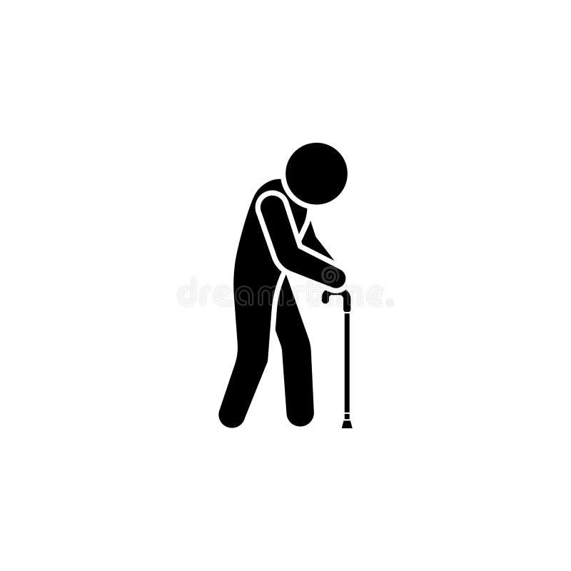 Símbolo del icono del viejo hombre ilustración del vector