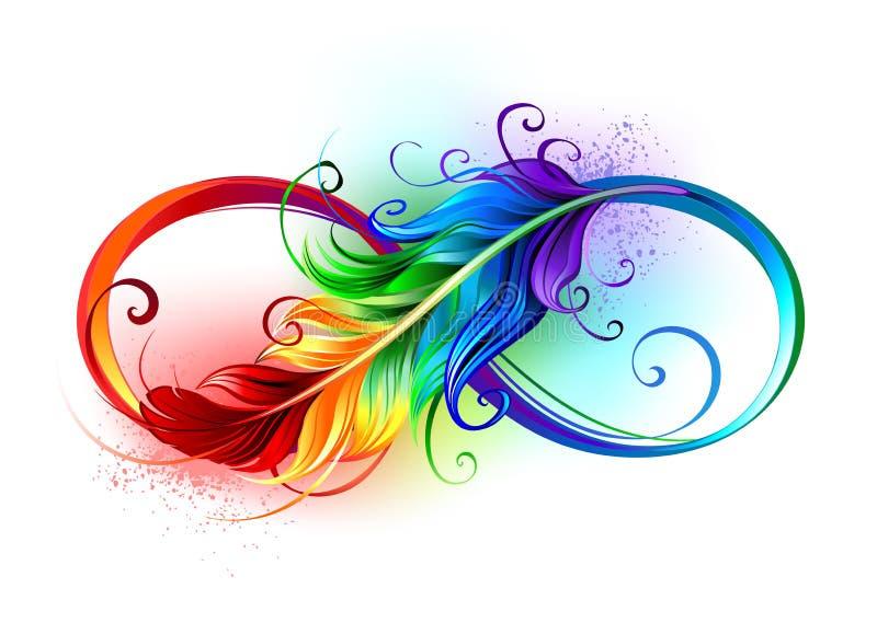 Símbolo del infinito con la pluma del arco iris stock de ilustración