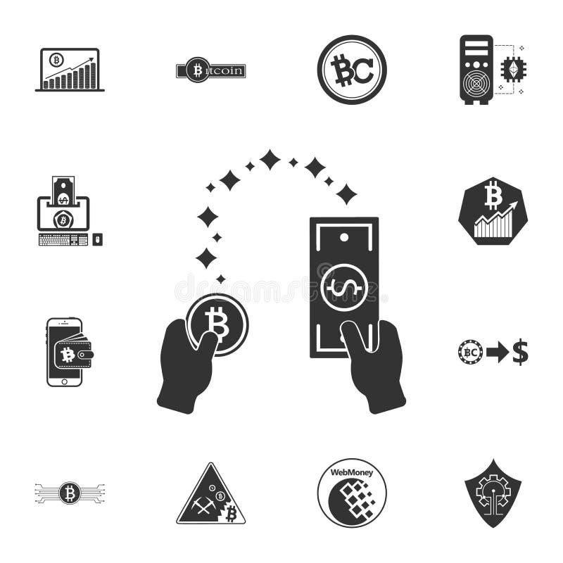 Símbolo del intercambio de moneda con la flecha, del bitcoin al dólar y de la moneda del dólar al bitcoin, transferencia monetari ilustración del vector