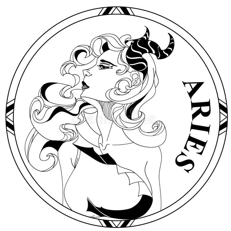 Símbolo del lineart del zodiaco del aries stock de ilustración