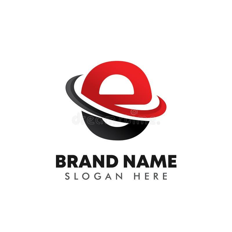 símbolo del logotipo de la letra E con diseño de línea inclinada stock de ilustración