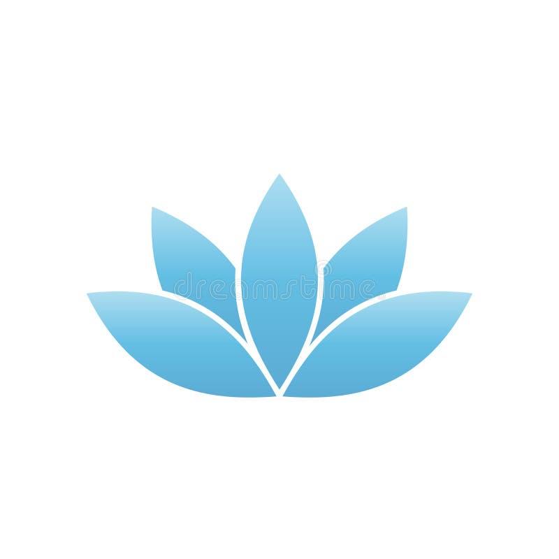 Símbolo del loto azul Balneario y elemento del diseño del tema de la salud Ilustración del vector ilustración del vector