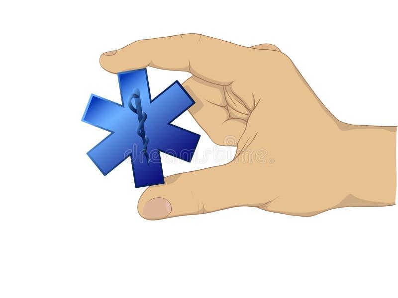Símbolo del médico del asimiento de la mano stock de ilustración