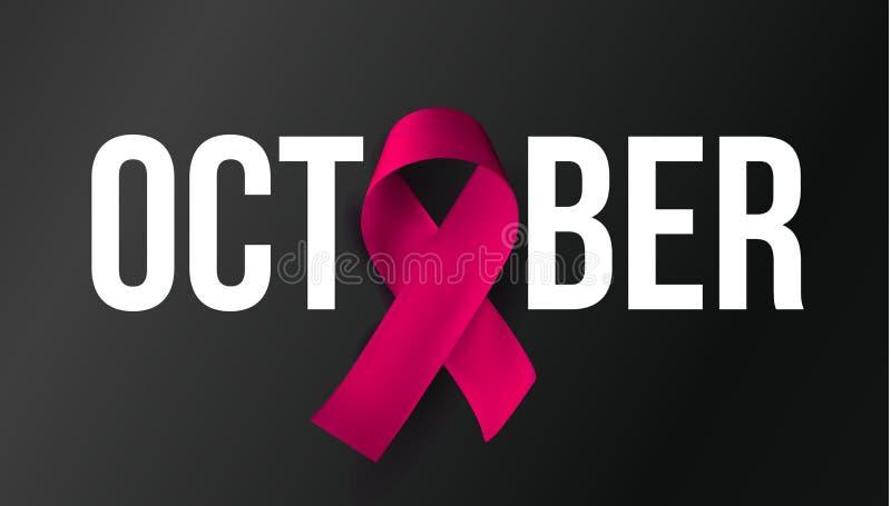 Símbolo del mes de la conciencia de octubre Baner del cáncer de pecho Cinta rosada con el texto blanco en fondo negro Vector libre illustration