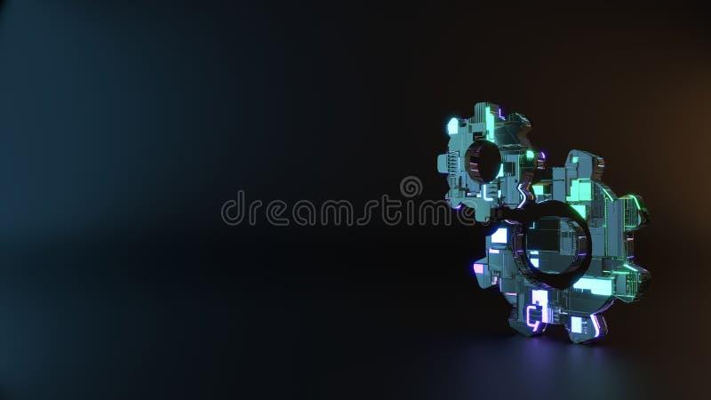 símbolo del metal de la ciencia ficción del icono de la rueda dentada rendir fotografía de archivo libre de regalías