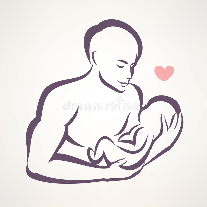 Símbolo del padre y del bebé stock de ilustración