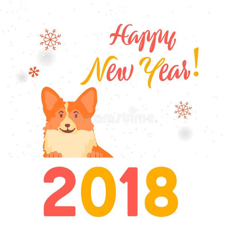 Símbolo del perro del año 2018 Feliz Año Nuevo Perro de la tarjeta de felicitación, zodiaco chino libre illustration