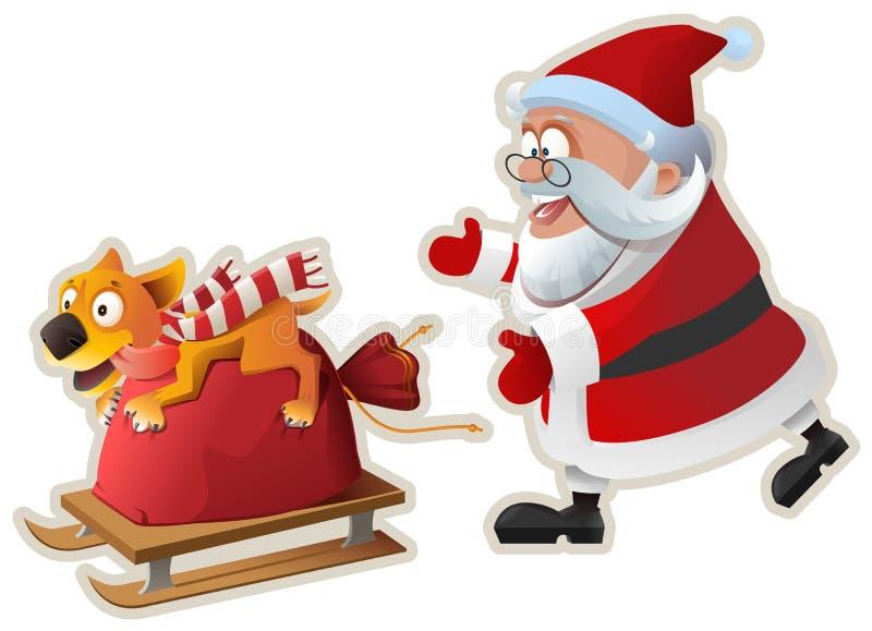 Símbolo del perro amarillo del año 2018 El perro de la diversión sostiene el bolso con los regalos y va en el trineo, Papá Noel a ilustración del vector