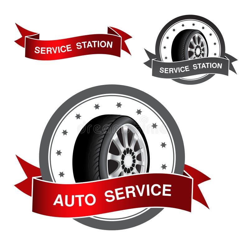 Símbolo del servicio auto - muestra, icono, etiqueta engomada stock de ilustración