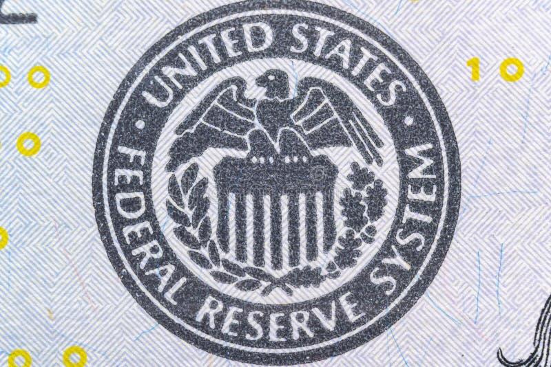 Símbolo del sistema de Estados Unidos Federal Reserve, logotipo de Eagle - cierre ultra macro para arriba foto de archivo libre de regalías