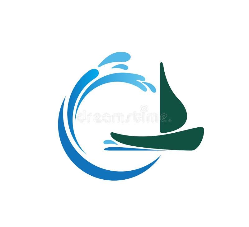 Símbolo del spash de la onda de agua con un icono Logo Template del barco Extracto, navegación ilustración del vector