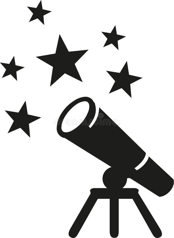 Símbolo del telescopio con las estrellas stock de ilustración