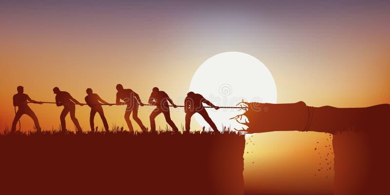 Símbolo del trabajo en equipo con un grupo de hombres que tiran de un tronco de árbol con una cuerda para utilizar como puente libre illustration