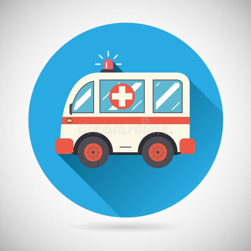 Símbolo del tratamiento de la salud del icono del coche de la ambulancia encendido ilustración del vector