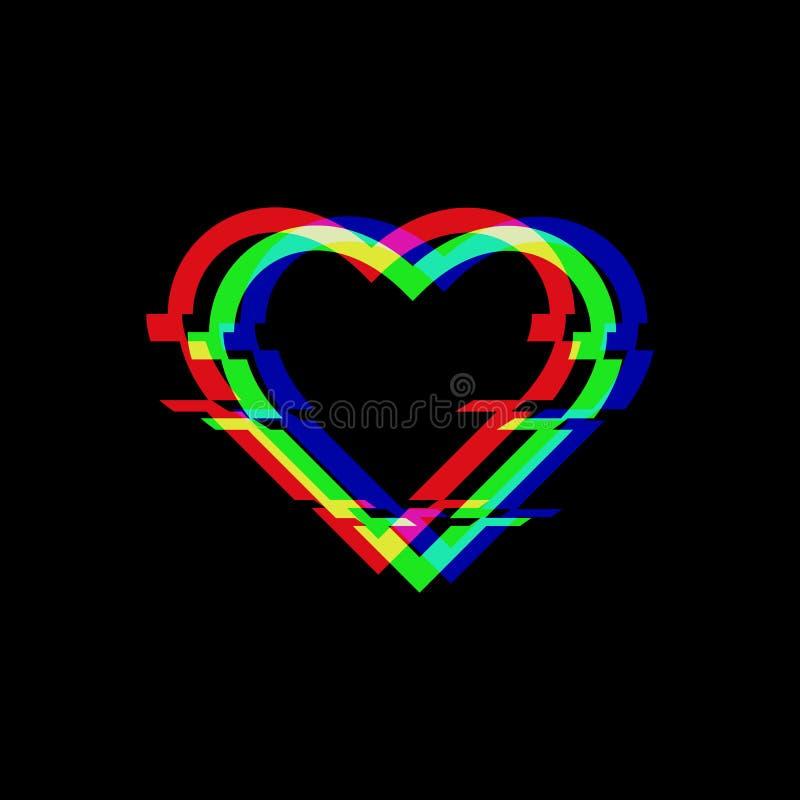 Símbolo del vector del corazón en estilo de la interferencia Icono del amor aislado en fondo negro Diseño torcido pixel digital m ilustración del vector