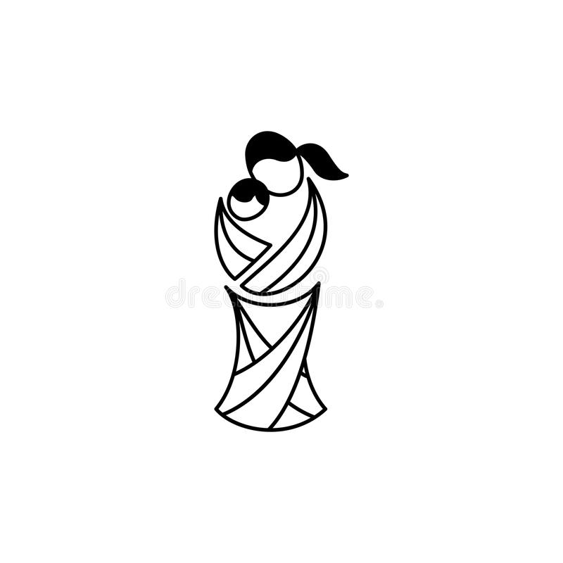 Símbolo del vector de la maternidad Madre del ejemplo con su bebé libre illustration