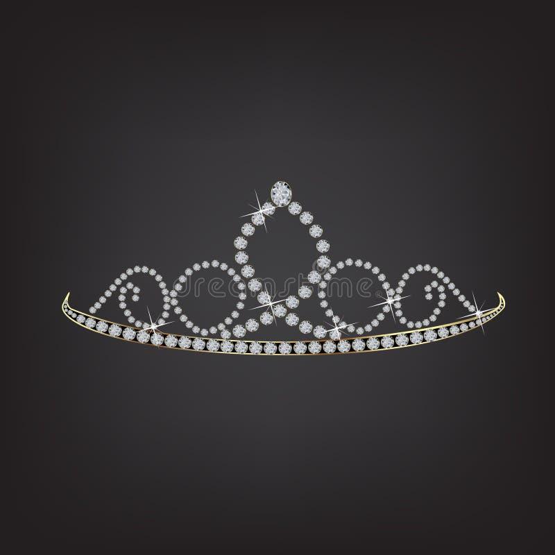 Símbolo del vector de la tiara de la corona de la princesa ilustración del vector