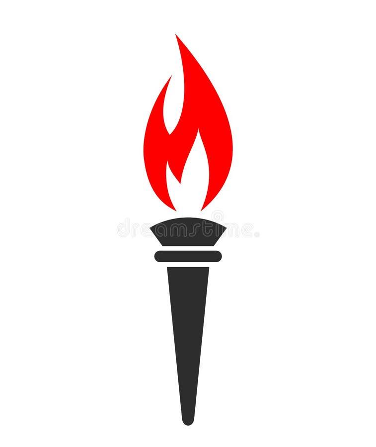 Símbolo del vector del fuego de la antorcha stock de ilustración