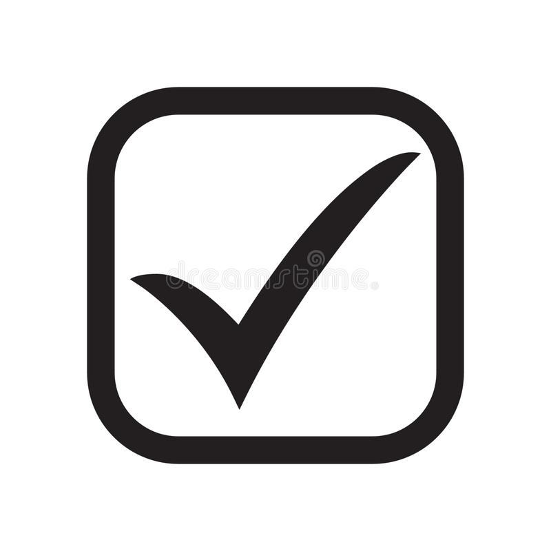 Símbolo del vector del icono de la señal, marca de cotejo aislada en el fondo blanco Icono del botón de la lista de verificación  stock de ilustración
