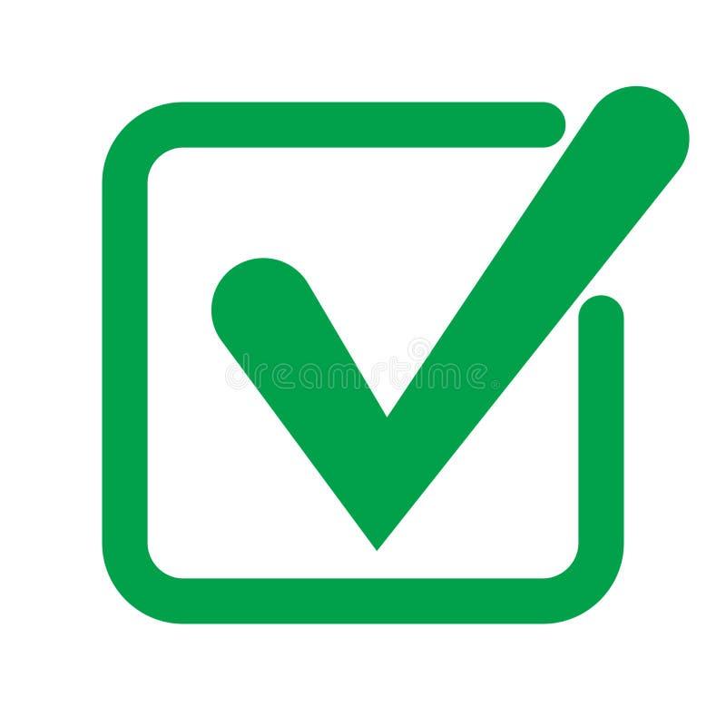 Símbolo del vector del icono de la señal, marca de cotejo aislada en el fondo blanco Icono del botón de la lista de verificación  libre illustration