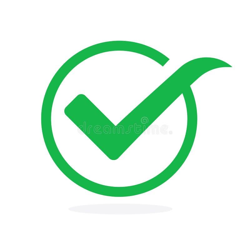 Símbolo del vector del icono de la señal, marca de cotejo verde aislada en el fondo blanco stock de ilustración