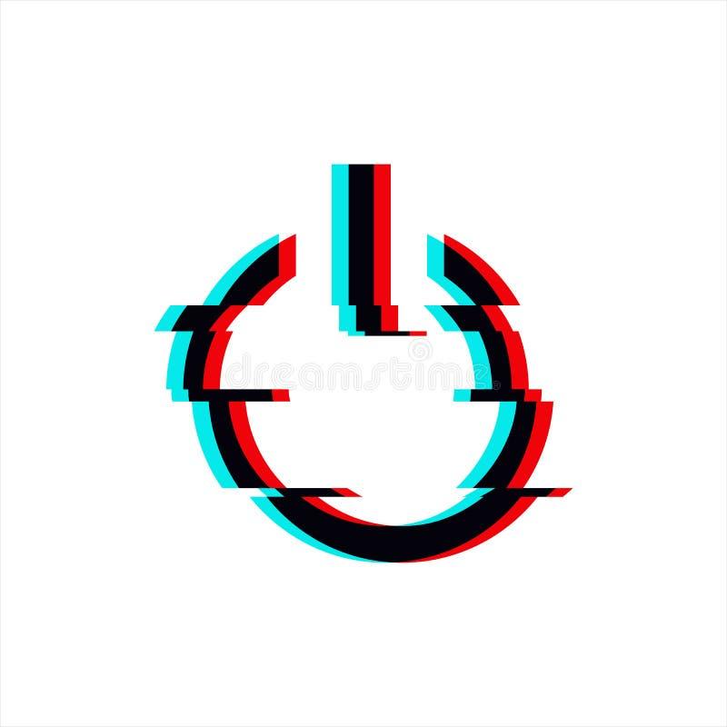 Símbolo del vector del poder del botón en estilo de la interferencia Icono glitched geométrico del comienzo aislado en el fondo b stock de ilustración
