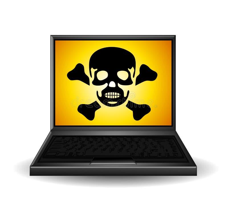 Símbolo del veneno en la computadora portátil ilustración del vector