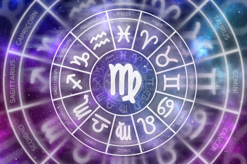 Símbolo del virgo del zodiaco dentro del círculo del horóscopo fotos de archivo
