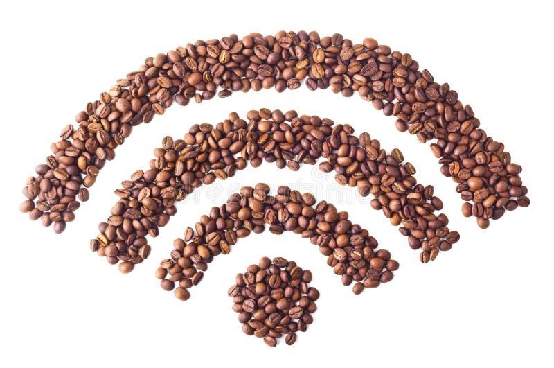 Símbolo del 'Wi-Fi' de los granos de café imágenes de archivo libres de regalías