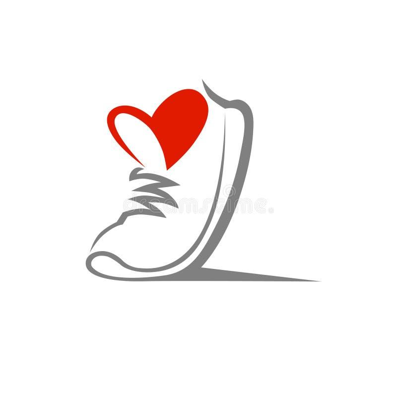 Símbolo del zapato, icono Concepto cariñoso del deporte ilustración del vector