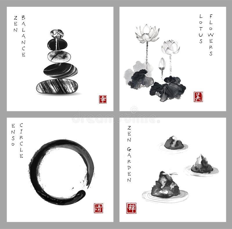 Símbolo del zen La balanza del zen, el círculo del zen del enso, la flor de loto y el zen cultivan un huerto en el fondo blanco J stock de ilustración