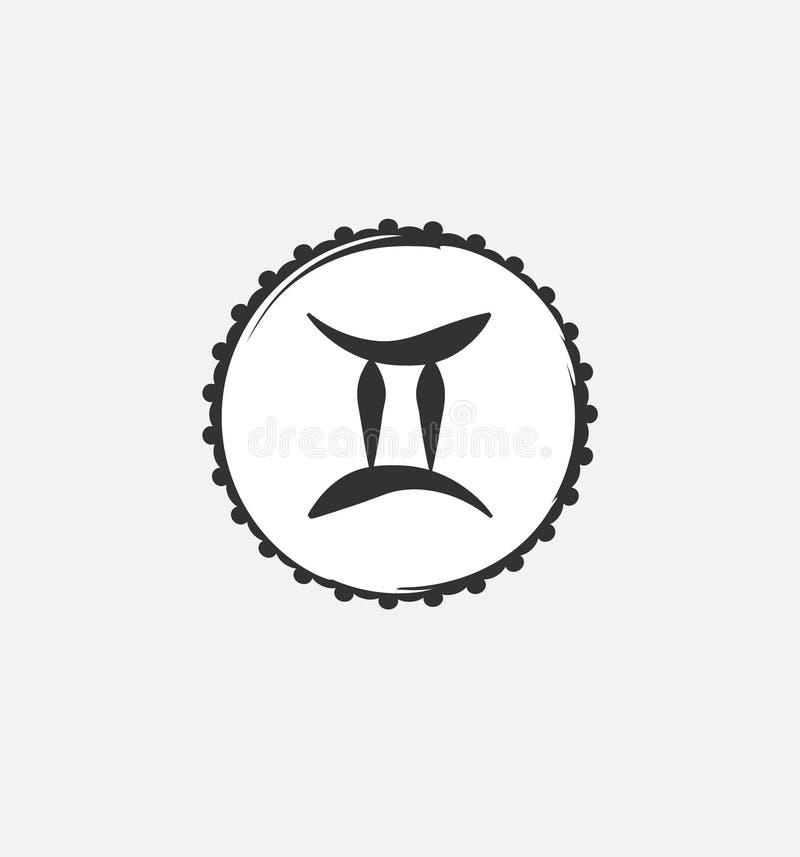 Símbolo del zodiaco de los géminis Predecir el futuro con las muestras del zodiaco ilustración del vector