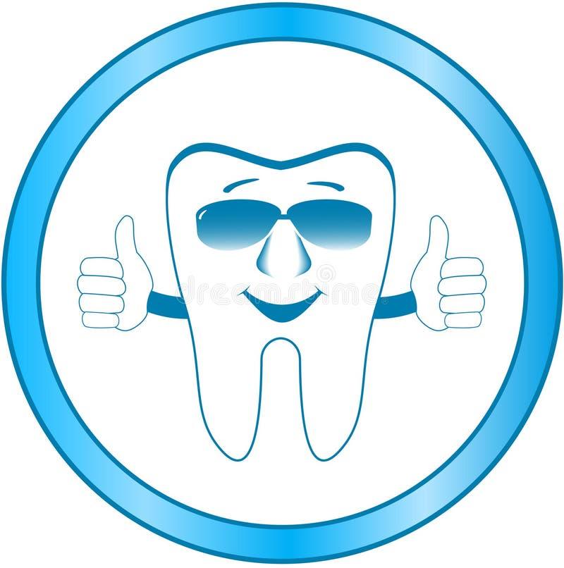 Símbolo dental de la clínica con el diente de la sonrisa stock de ilustración