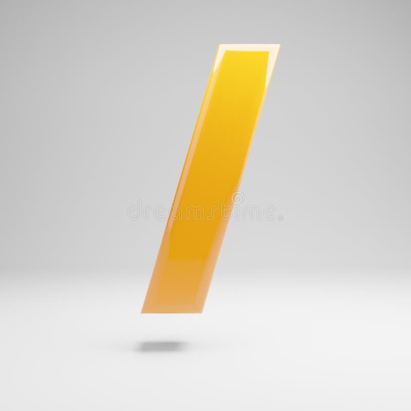 Símbolo dianteiro amarelo lustroso do corte isolado no fundo branco ilustração stock