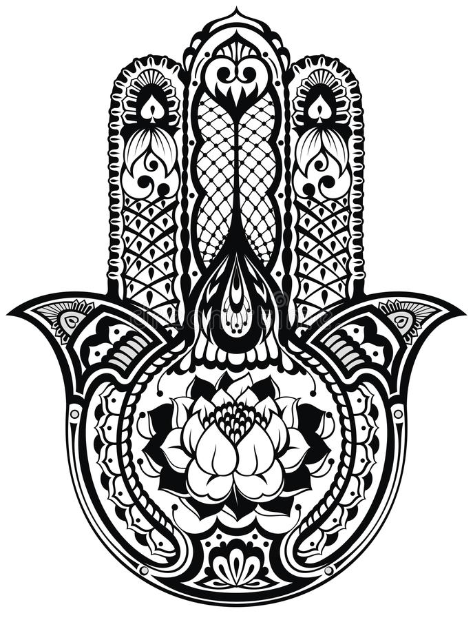 Símbolo dibujado mano india del hamsa del vector ilustración del vector