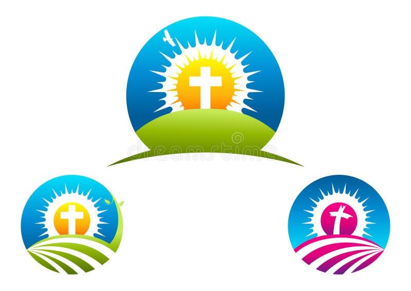 Símbolo, diseño del logotipo del crucifijo e icono religiosos cruzados ilustración del vector