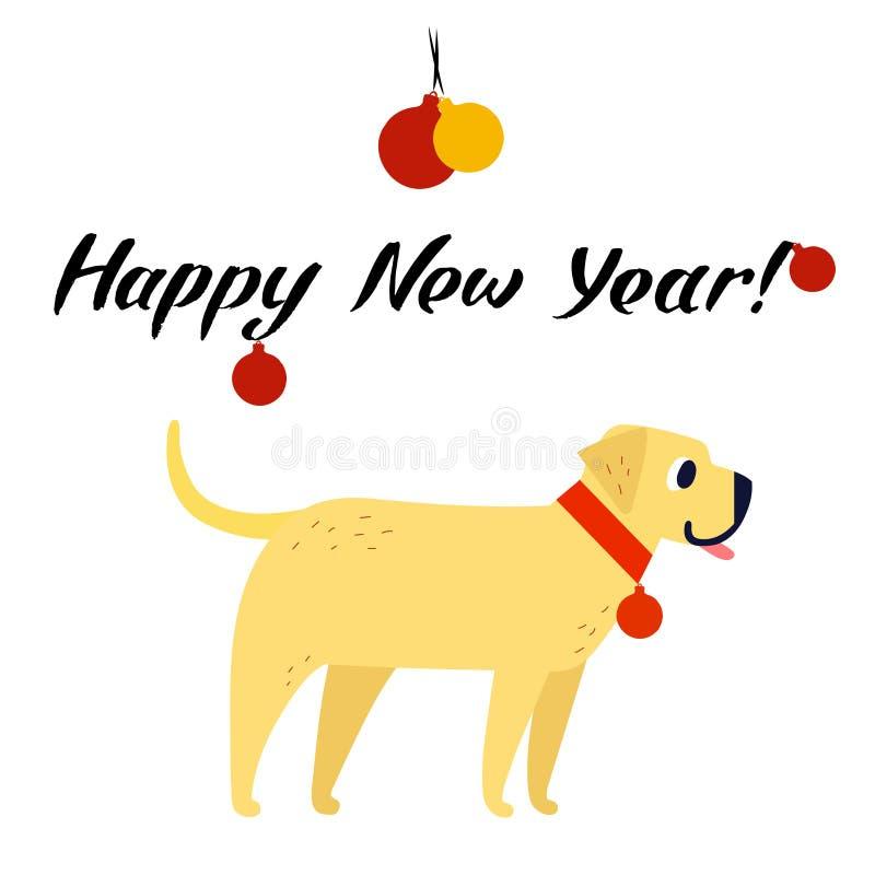 Símbolo divertido del perro amarillo del año 2018 Estilo plano, ejemplo aislado en un fondo blanco Letras de la Feliz Año Nuevo stock de ilustración