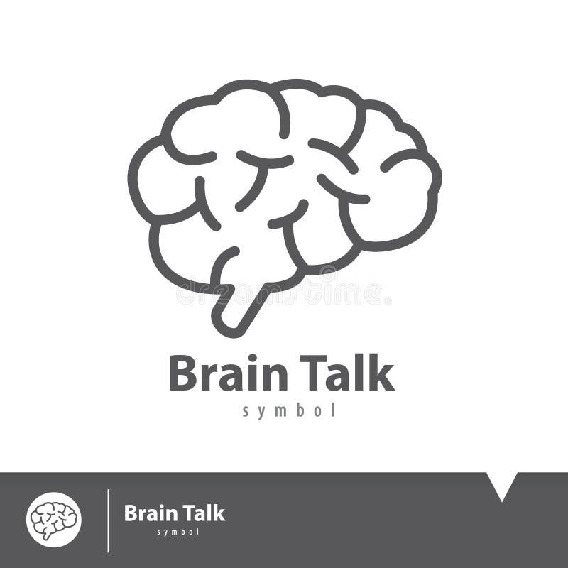 Símbolo do ícone da conversa do cérebro ilustração stock