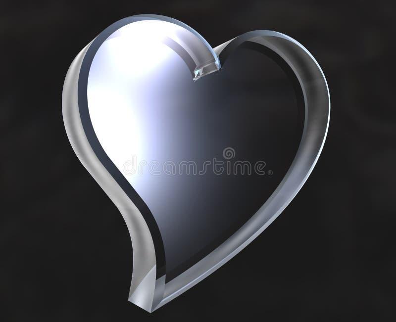 Símbolo do ícone do coração no vidro (3D ilustração stock
