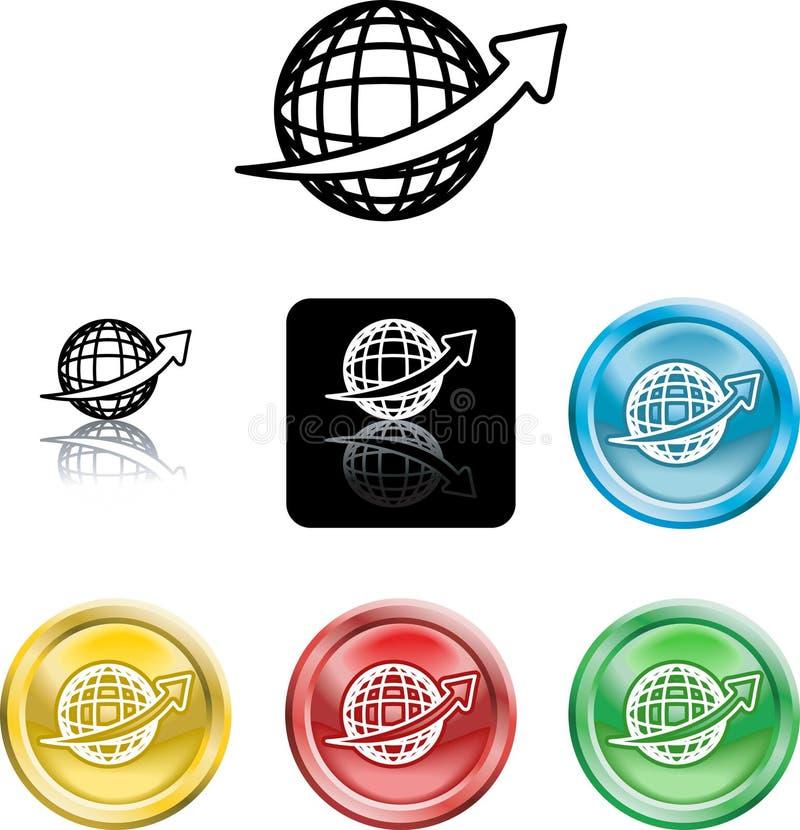 Símbolo do ícone do globo do fio ilustração royalty free