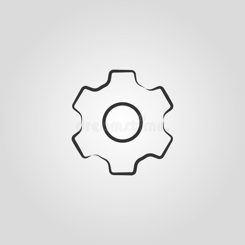 Símbolo do ícone dos ajustes da roda denteada do vetor ilustração stock